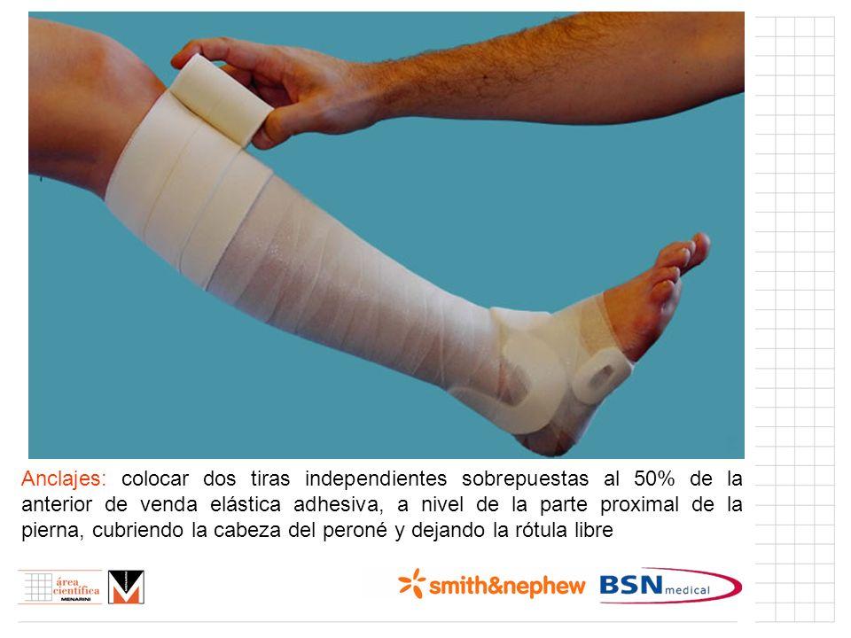 Anclajes: colocar dos tiras independientes sobrepuestas al 50% de la anterior de venda elástica adhesiva, a nivel de la parte proximal de la pierna, c