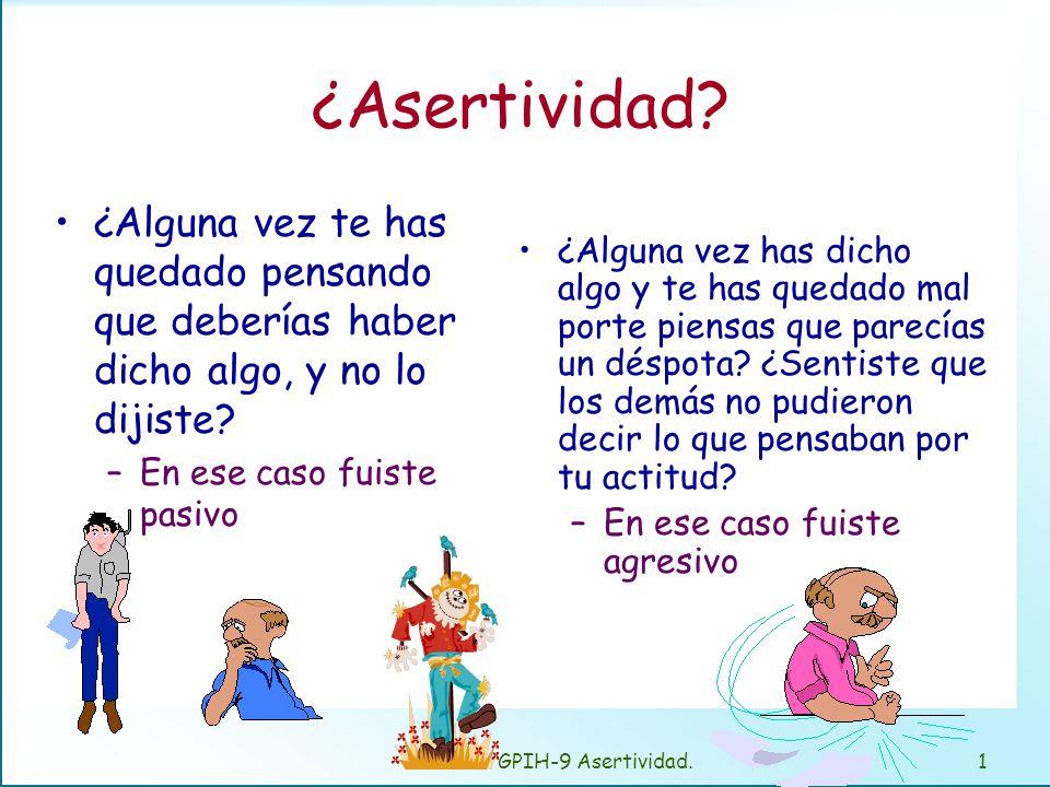 GPIH-9 Asertividad.11 Asertividad Ejemplos: –La reunión semanal. –La evaluación.
