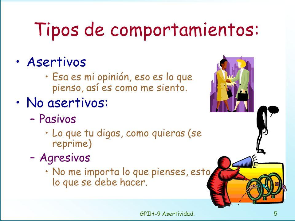 GPIH-9 Asertividad.5 Tipos de comportamientos: Asertivos Esa es mi opinión, eso es lo que pienso, así es como me siento.