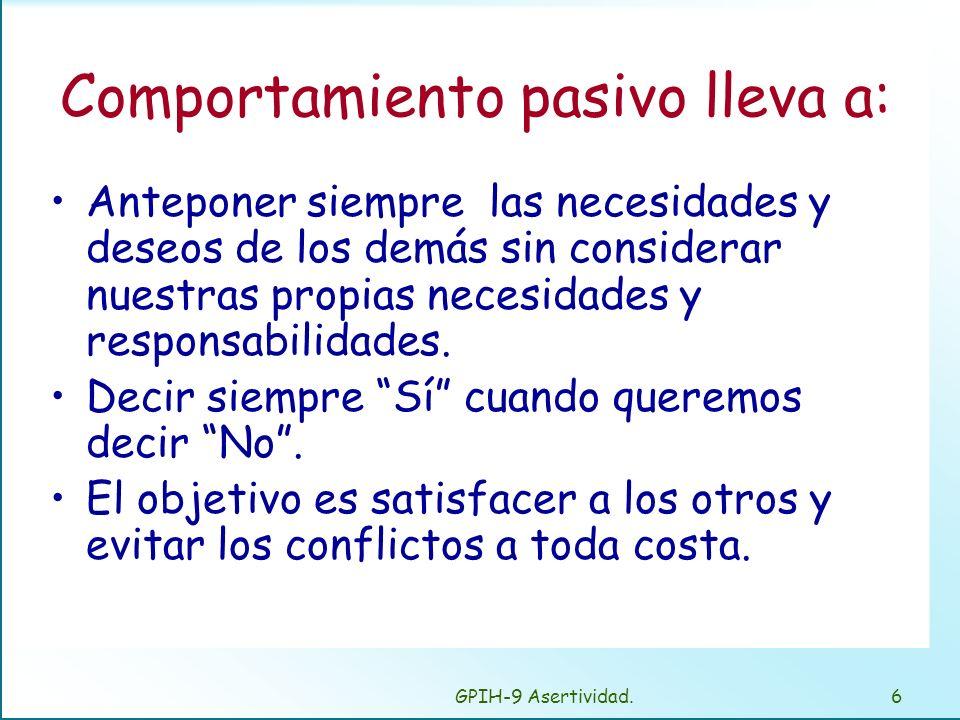 GPIH-9 Asertividad.5 Tipos de comportamientos: Asertivos Esa es mi opinión, eso es lo que pienso, así es como me siento. No asertivos: –Pasivos Lo que