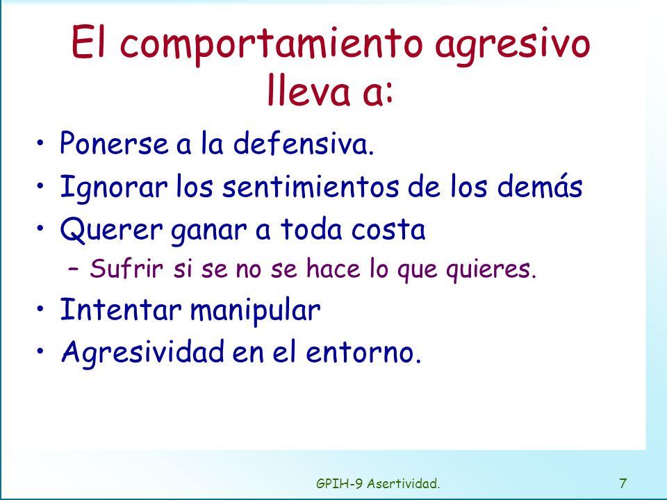 GPIH-9 Asertividad.7 El comportamiento agresivo lleva a: Ponerse a la defensiva.