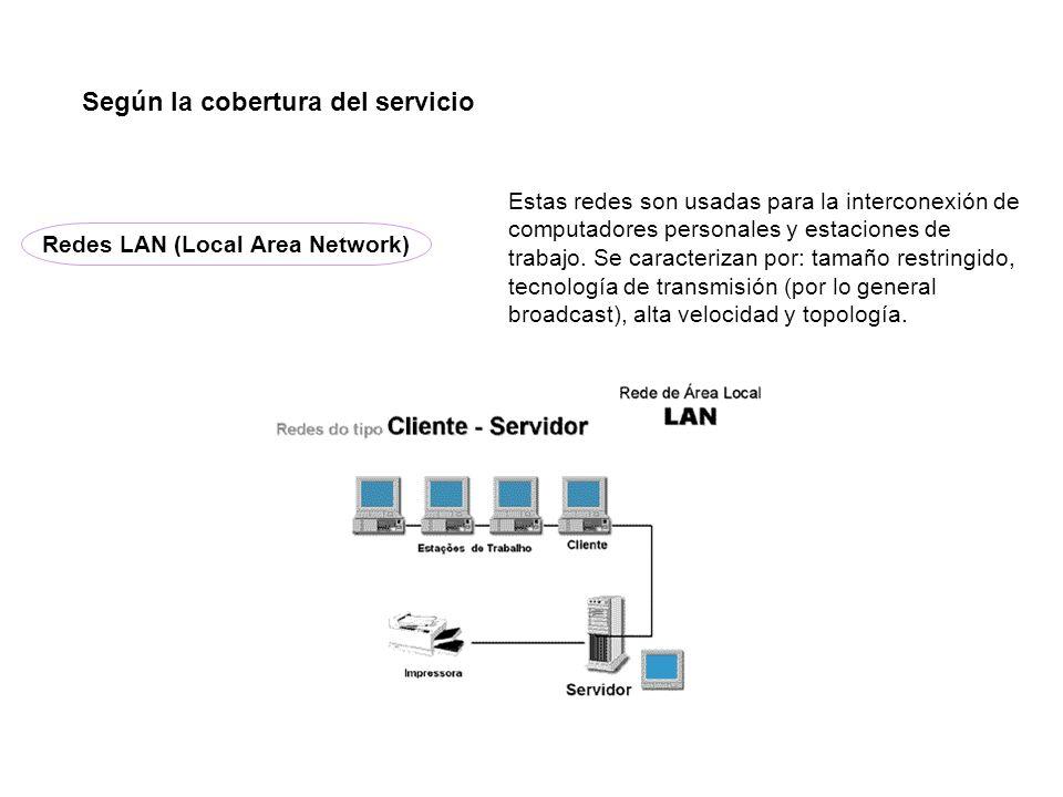 Redes LAN (Local Area Network) Según la cobertura del servicio Estas redes son usadas para la interconexión de computadores personales y estaciones de