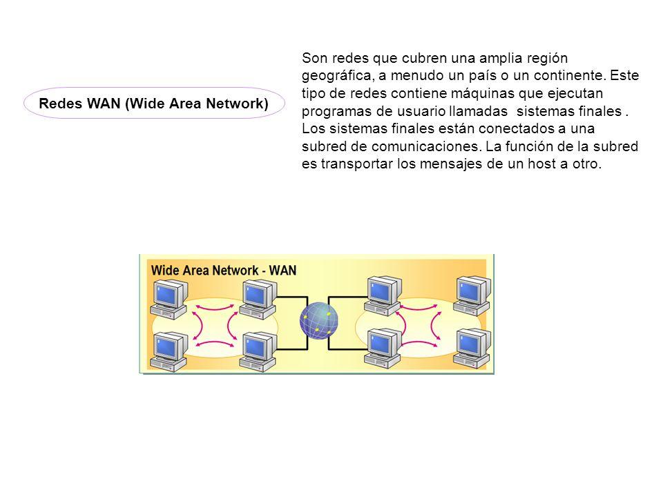 Son redes que cubren una amplia región geográfica, a menudo un país o un continente. Este tipo de redes contiene máquinas que ejecutan programas de us
