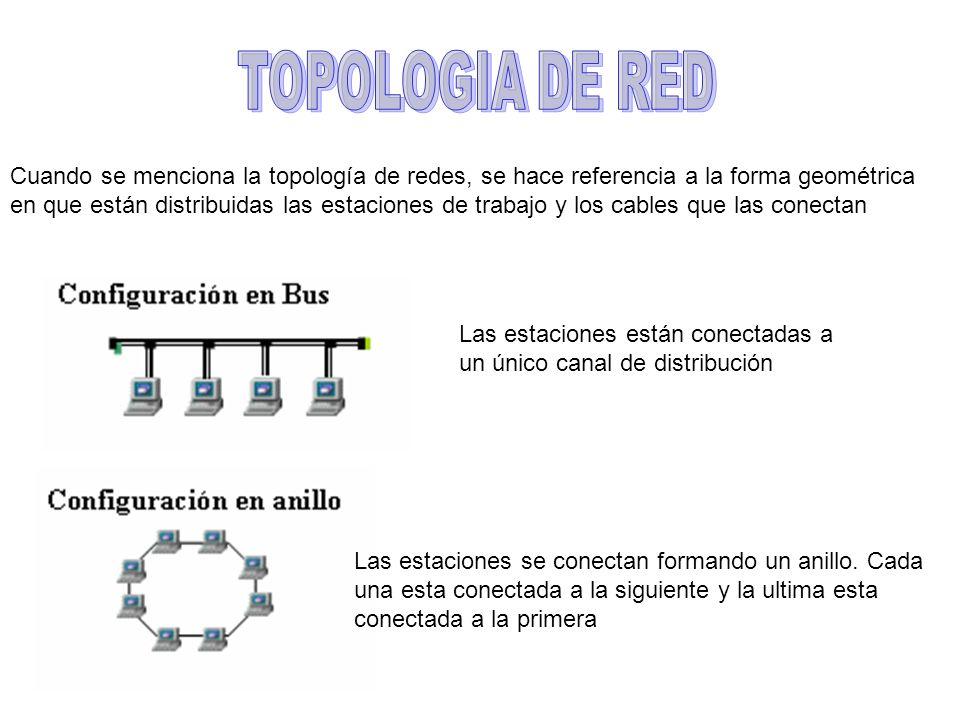 Cuando se menciona la topología de redes, se hace referencia a la forma geométrica en que están distribuidas las estaciones de trabajo y los cables qu