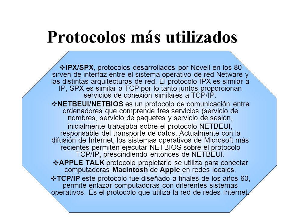 Protocolos más utilizados IPX/SPX, protocolos desarrollados por Novell en los 80 sirven de interfaz entre el sistema operativo de red Netware y las di