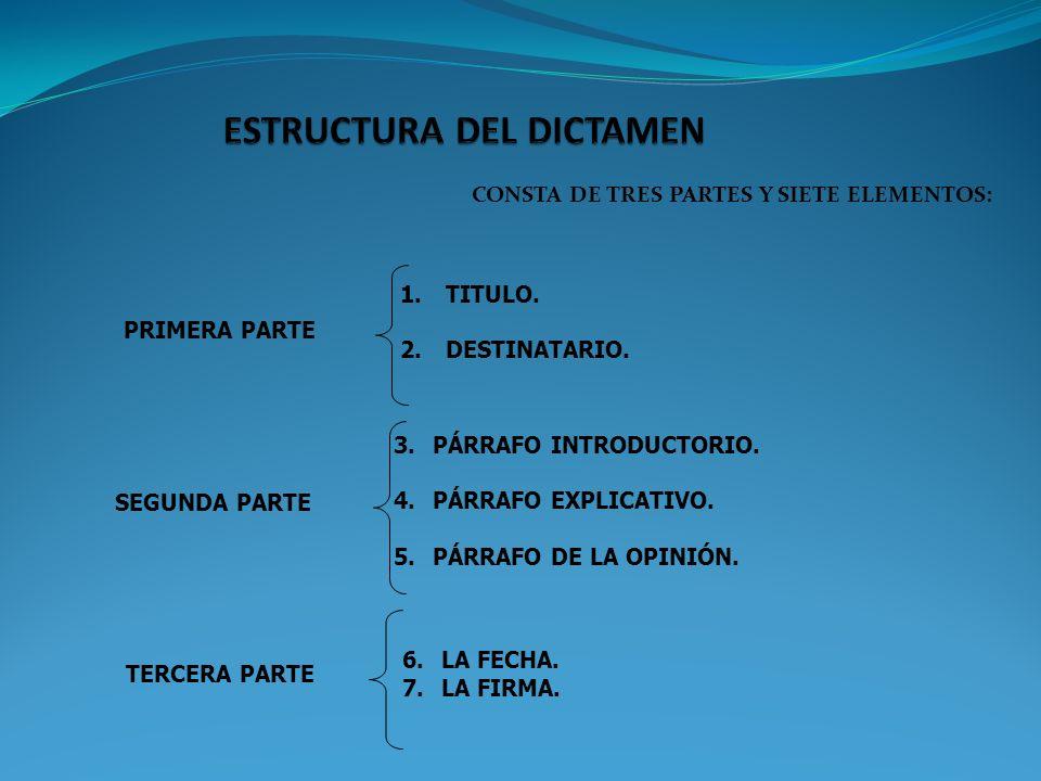 CONSTA DE TRES PARTES Y SIETE ELEMENTOS: PRIMERA PARTE 1. TITULO. 2. DESTINATARIO. SEGUNDA PARTE 3.PÁRRAFO INTRODUCTORIO. 4.PÁRRAFO EXPLICATIVO. 5.PÁR