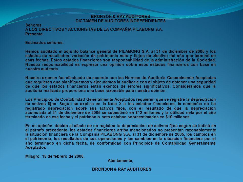 BRONSON & RAY AUDITORES DICTAMEN DE AUDITORES INDEPENDIENTES Señores A LOS DIRECTIVOS Y ACCIONISTAS DE LA COMPAÑÍA PILABONG S.A. Presente. Estimados s