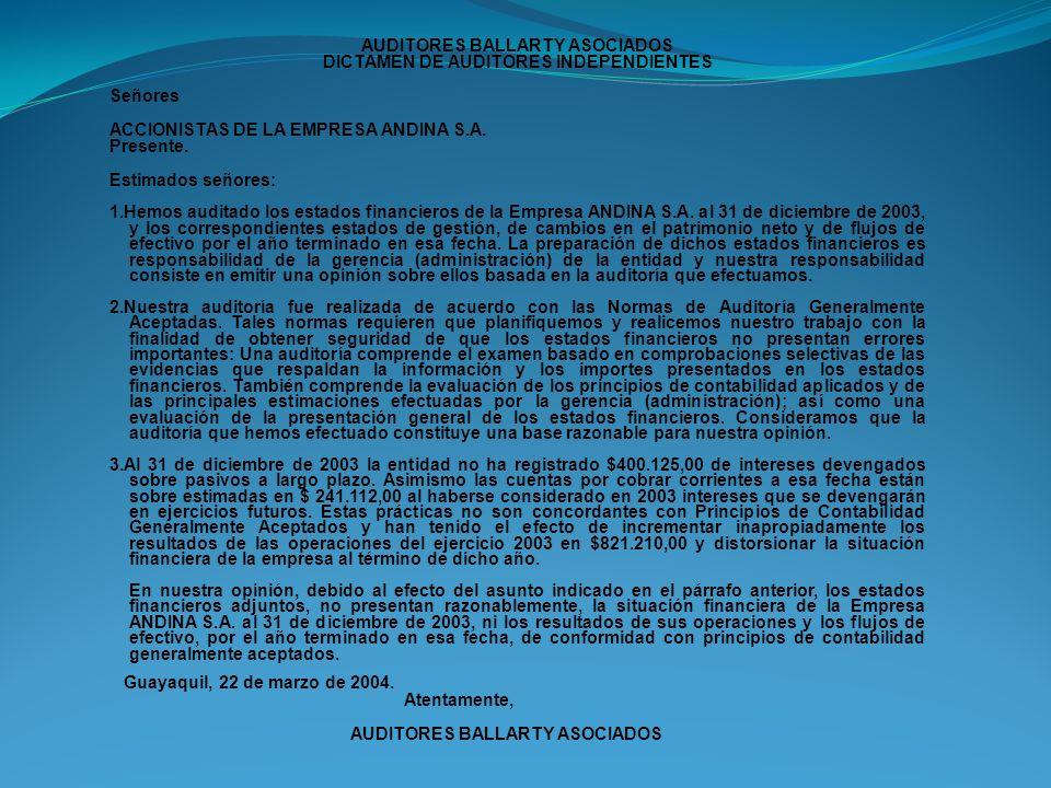 AUDITORES BALLARTY ASOCIADOS DICTAMEN DE AUDITORES INDEPENDIENTES Señores ACCIONISTAS DE LA EMPRESA ANDINA S.A. Presente. Estimados señores: 1.Hemos a