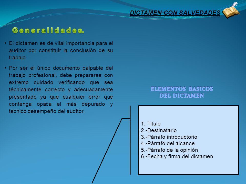 1.- Título Para distinguirlo de otros informes que son emitidos por la administración, auditores internos, etc.