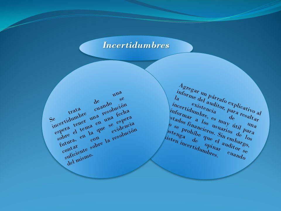 IncertidumbresIncertidumbres Agregar un párrafo explicativo al informe del auditor, para resaltar la existencia de una incertidumbre, es muy útil para