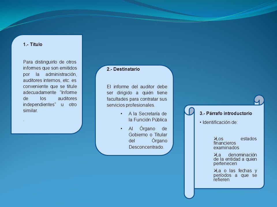 1.- Título Para distinguirlo de otros informes que son emitidos por la administración, auditores internos, etc. es conveniente que se titule adecuadam