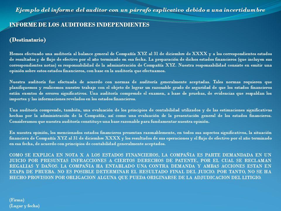 Ejemplo del informe del auditor con un párrafo explicativo debido a una incertidumbre INFORME DE LOS AUDITORES INDEPENDIENTES (Destinatario) Hemos efe