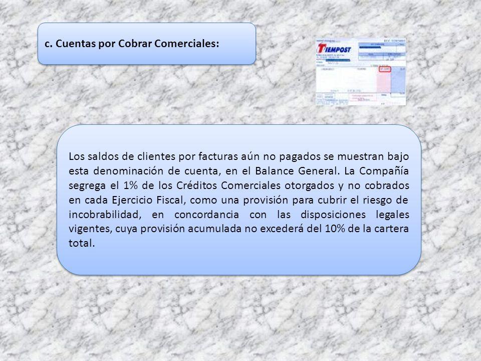 c. Cuentas por Cobrar Comerciales: Los saldos de clientes por facturas aún no pagados se muestran bajo esta denominación de cuenta, en el Balance Gene