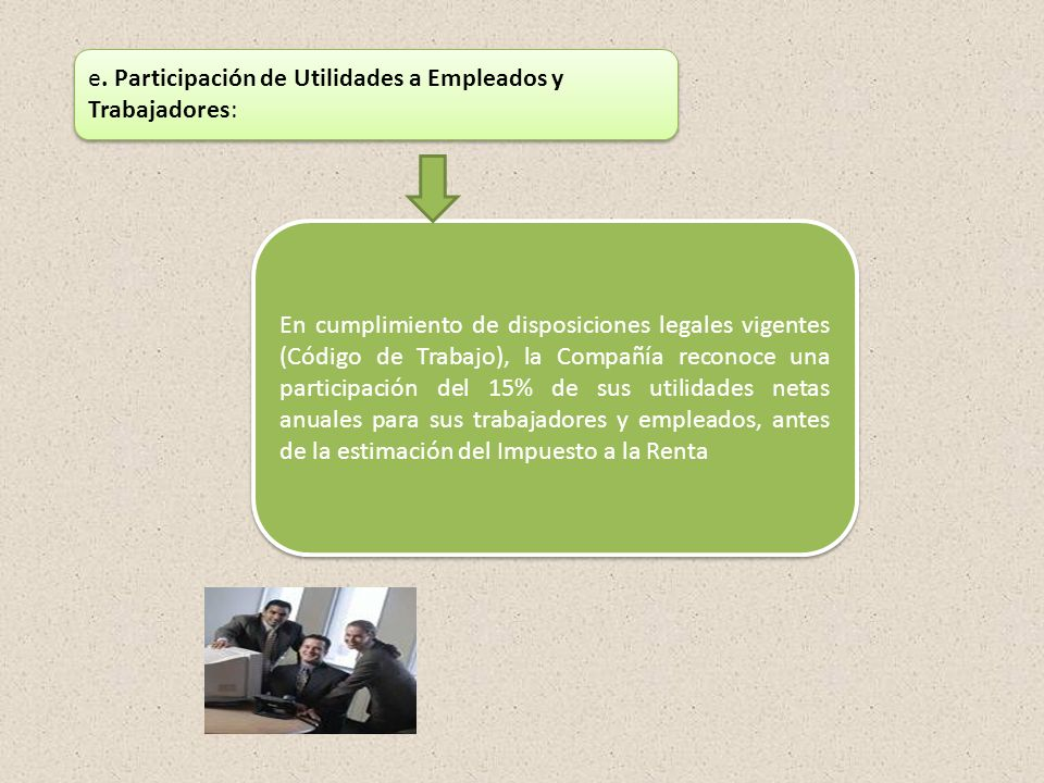 e. Participación de Utilidades a Empleados y Trabajadores: En cumplimiento de disposiciones legales vigentes (Código de Trabajo), la Compañía reconoce