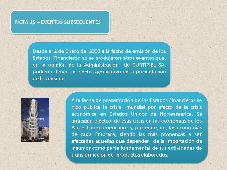 NOTA 15 – EVENTOS SUBSECUENTES Desde el 2 de Enero del 2009 a la fecha de emisión de los Estados Financieros no se produjeron otros eventos que, en la