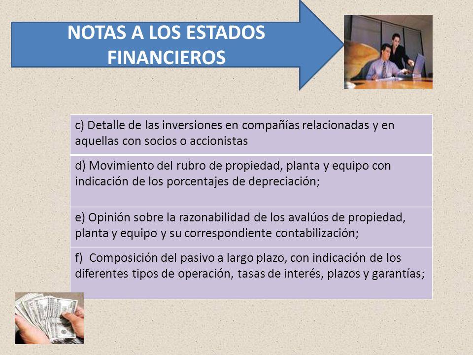 c) Detalle de las inversiones en compañías relacionadas y en aquellas con socios o accionistas d) Movimiento del rubro de propiedad, planta y equipo c
