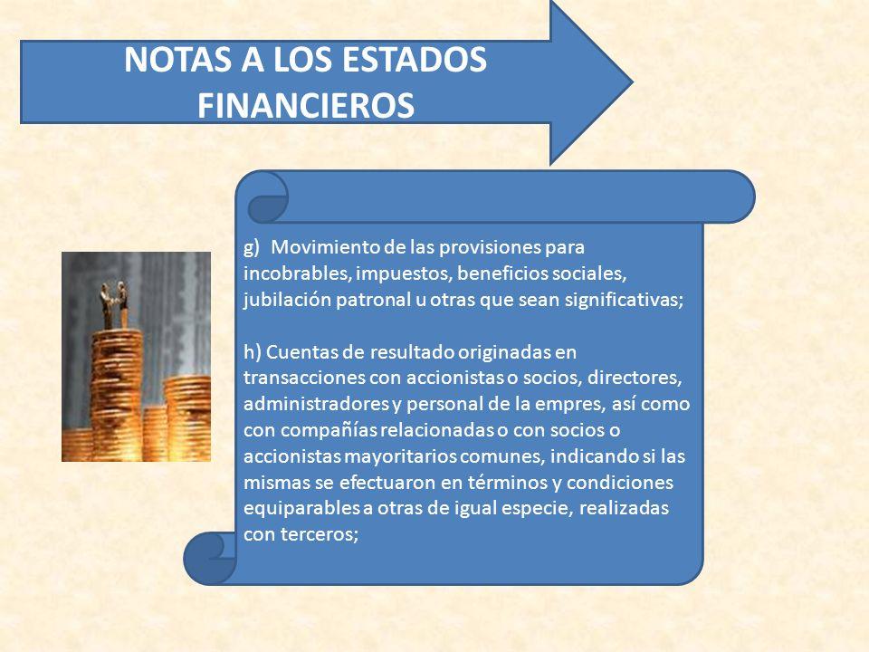 g) Movimiento de las provisiones para incobrables, impuestos, beneficios sociales, jubilación patronal u otras que sean significativas; h) Cuentas de