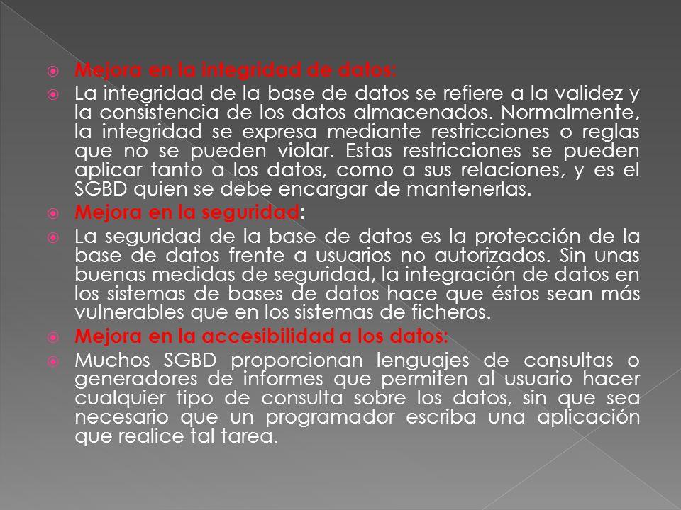 Mejora en la integridad de datos: La integridad de la base de datos se refiere a la validez y la consistencia de los datos almacenados.