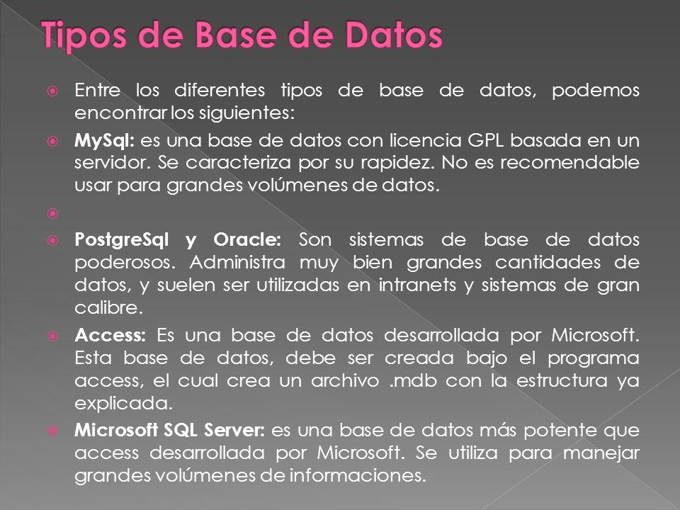 Entre los diferentes tipos de base de datos, podemos encontrar los siguientes: MySql: es una base de datos con licencia GPL basada en un servidor.