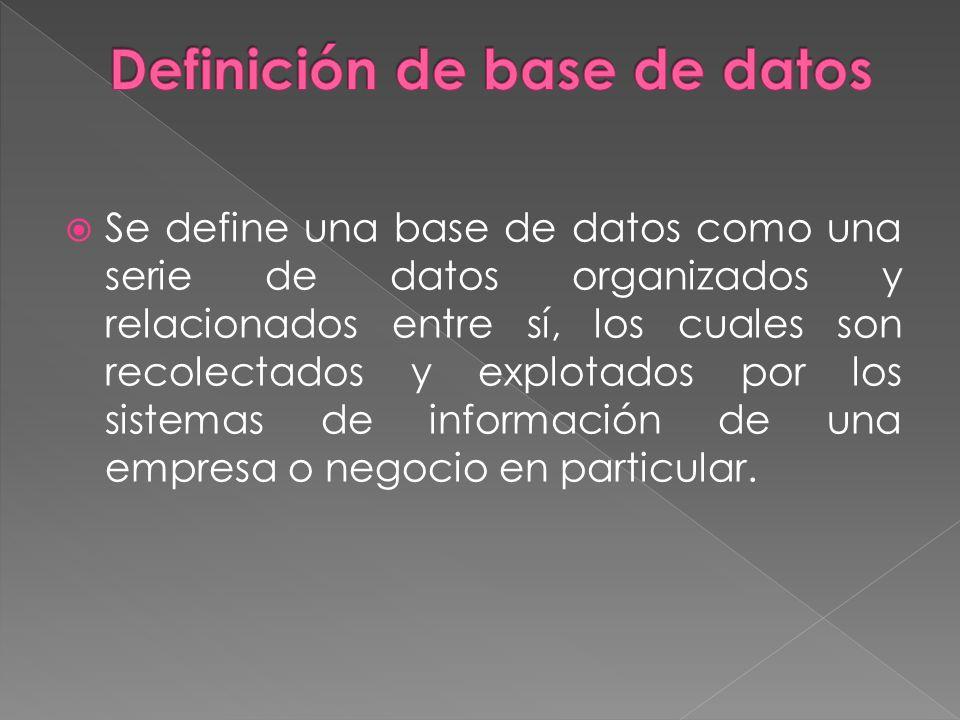 Se define una base de datos como una serie de datos organizados y relacionados entre sí, los cuales son recolectados y explotados por los sistemas de información de una empresa o negocio en particular.