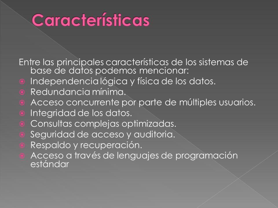 Entre las principales características de los sistemas de base de datos podemos mencionar: Independencia lógica y física de los datos.