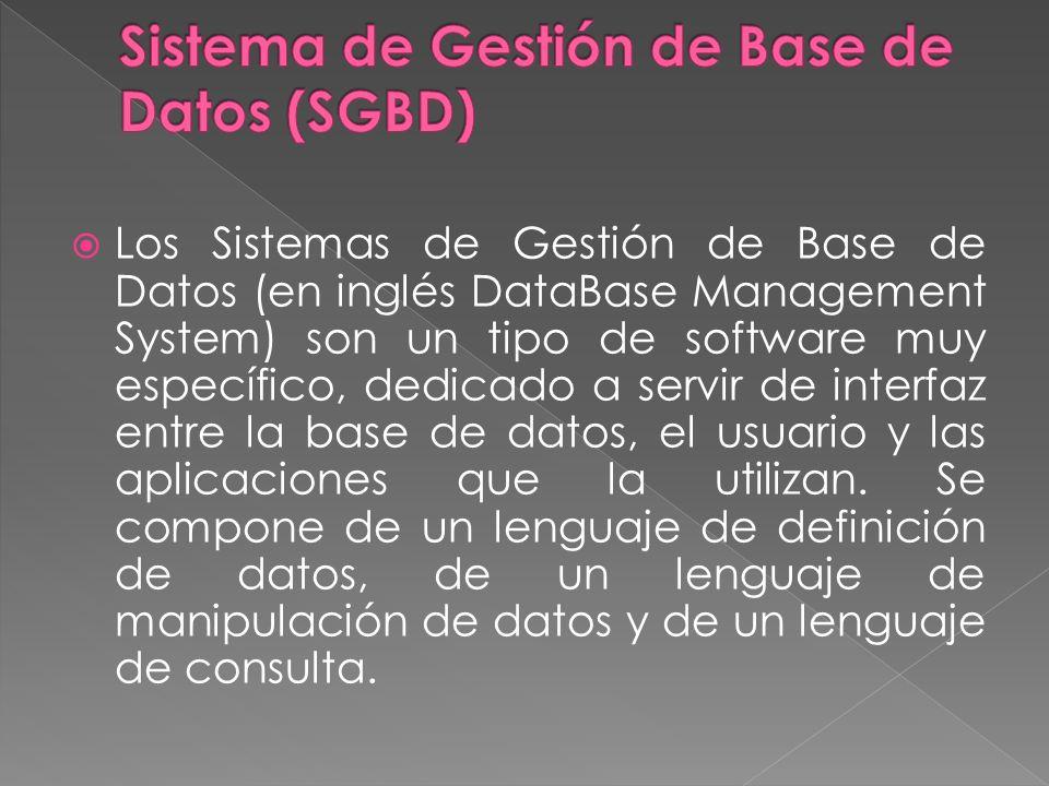 Los Sistemas de Gestión de Base de Datos (en inglés DataBase Management System) son un tipo de software muy específico, dedicado a servir de interfaz entre la base de datos, el usuario y las aplicaciones que la utilizan.