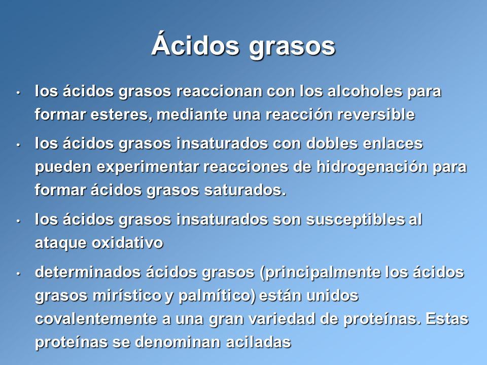 los ácidos grasos reaccionan con los alcoholes para formar esteres, mediante una reacción reversible los ácidos grasos reaccionan con los alcoholes pa