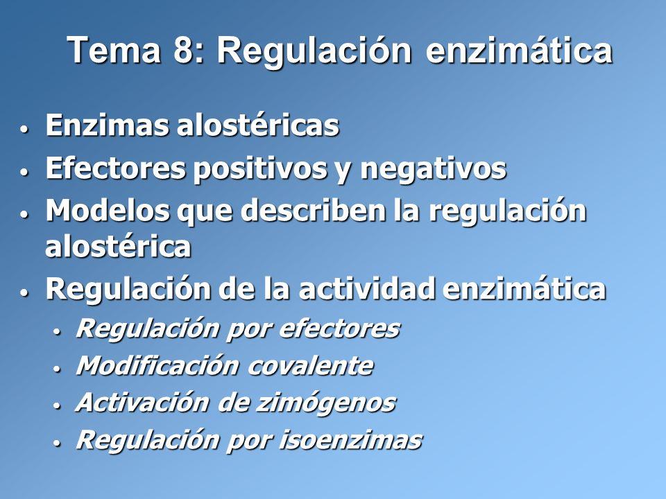 Tema 8: Regulación enzimática Enzimas alostéricas Enzimas alostéricas Efectores positivos y negativos Efectores positivos y negativos Modelos que desc