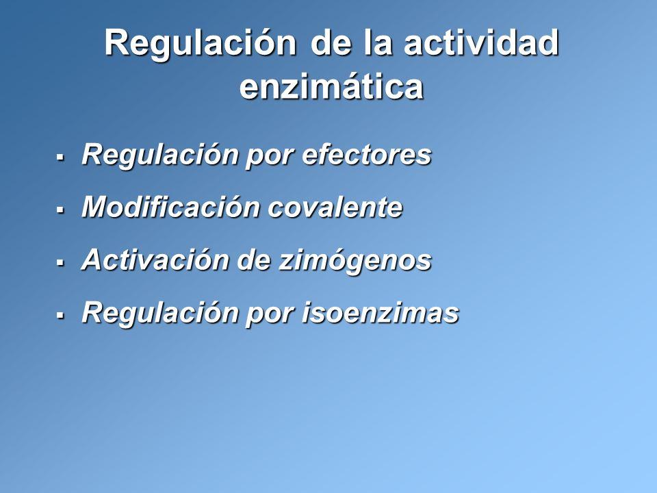 Regulación de la actividad enzimática Regulación por efectores Regulación por efectores Modificación covalente Modificación covalente Activación de zi