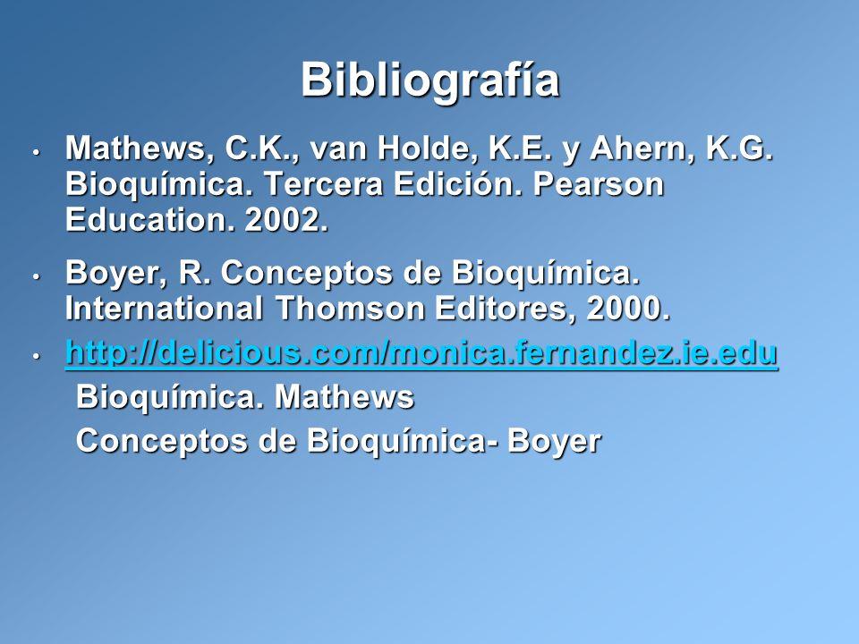 Bibliografía Mathews, C.K., van Holde, K.E. y Ahern, K.G. Bioquímica. Tercera Edición. Pearson Education. 2002. Mathews, C.K., van Holde, K.E. y Ahern