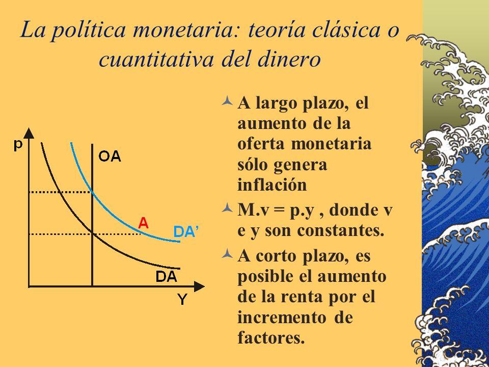 La política monetaria: teoría clásica o cuantitativa del dinero A largo plazo, el aumento de la oferta monetaria sólo genera inflación M.v = p.y, dond