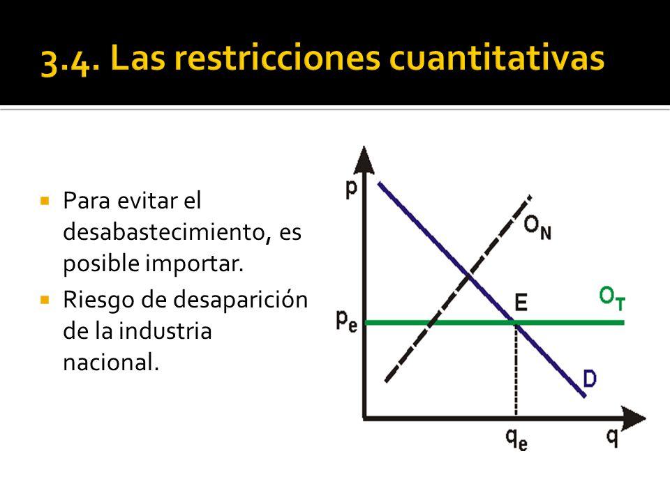 Para favorecer a la industria nacional, se establece una restricción cuantitativa a la importación (contingente o cuota de importación).