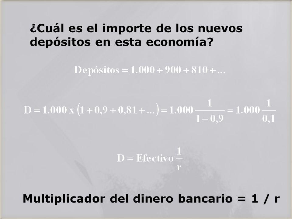 ¿Cuál es el importe de los nuevos depósitos en esta economía.