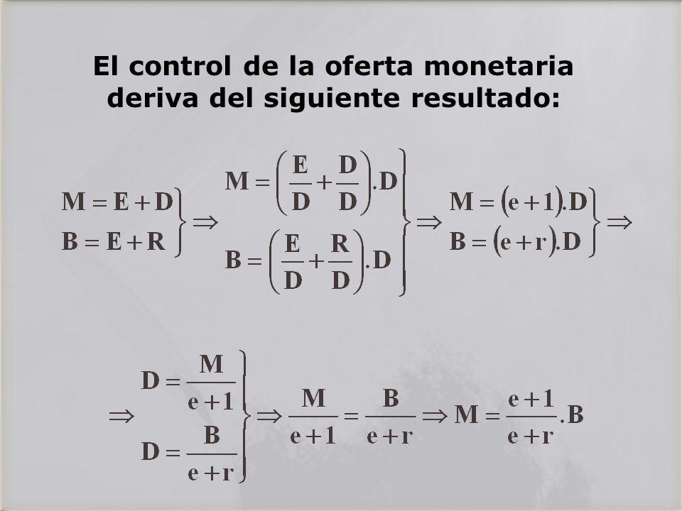 El control de la oferta monetaria deriva del siguiente resultado: