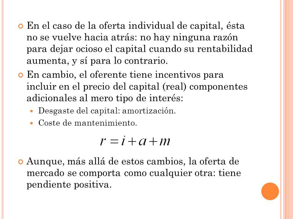 En el caso de la oferta individual de capital, ésta no se vuelve hacia atrás: no hay ninguna razón para dejar ocioso el capital cuando su rentabilidad aumenta, y sí para lo contrario.
