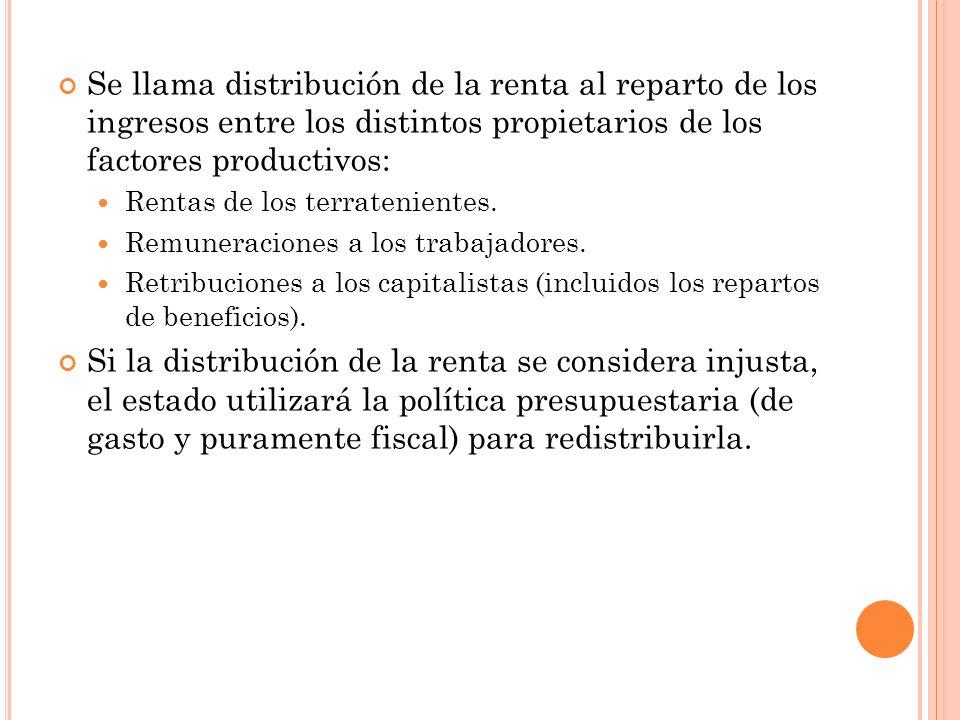 Se llama distribución de la renta al reparto de los ingresos entre los distintos propietarios de los factores productivos: Rentas de los terratenientes.