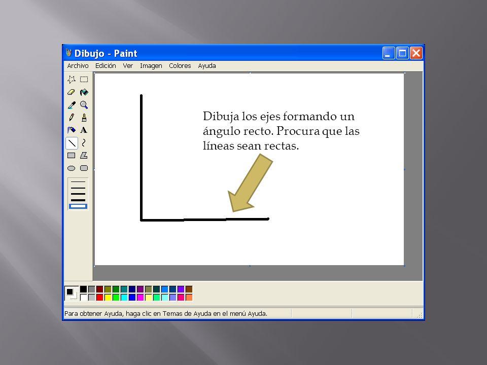 Dibuja los ejes formando un ángulo recto. Procura que las líneas sean rectas.
