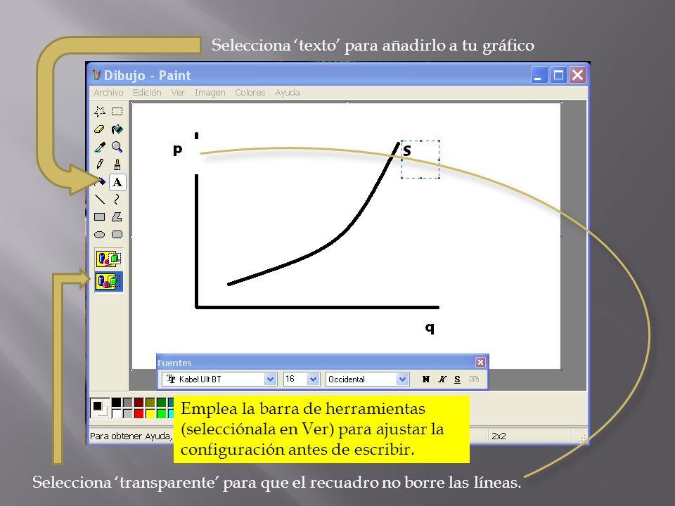 Selecciona texto para añadirlo a tu gráfico Selecciona transparente para que el recuadro no borre las líneas. Emplea la barra de herramientas (selecci