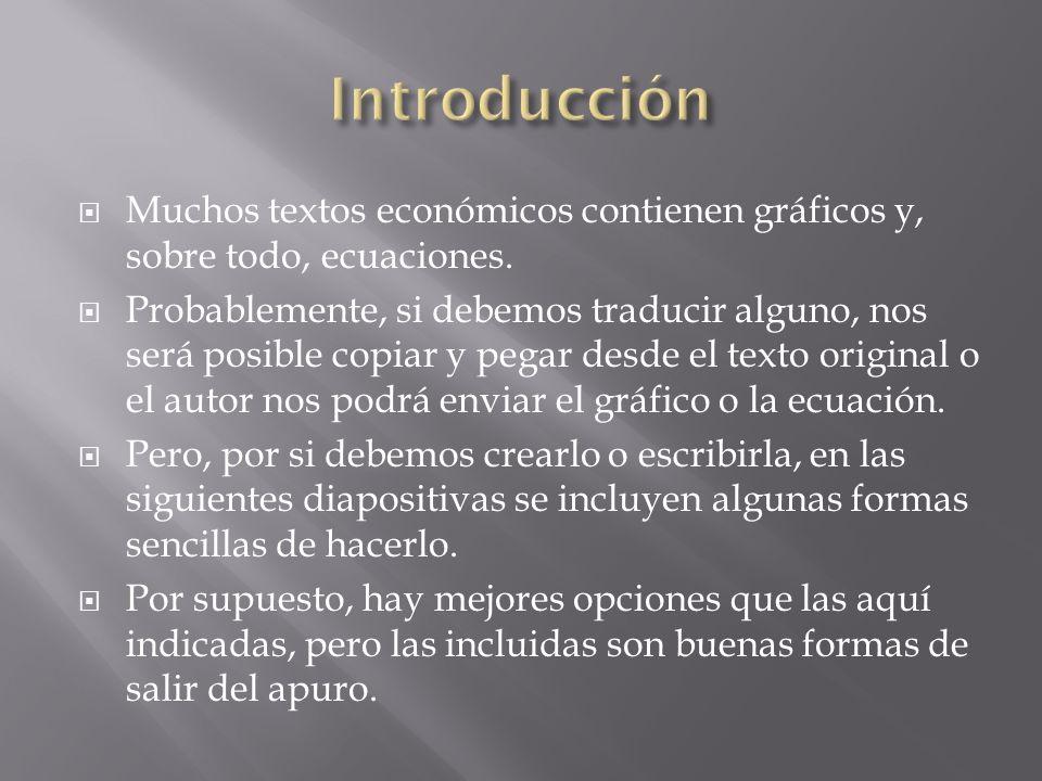 Muchos textos económicos contienen gráficos y, sobre todo, ecuaciones.