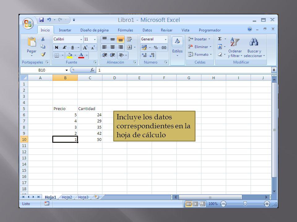 Incluye los datos correspondientes en la hoja de cálculo