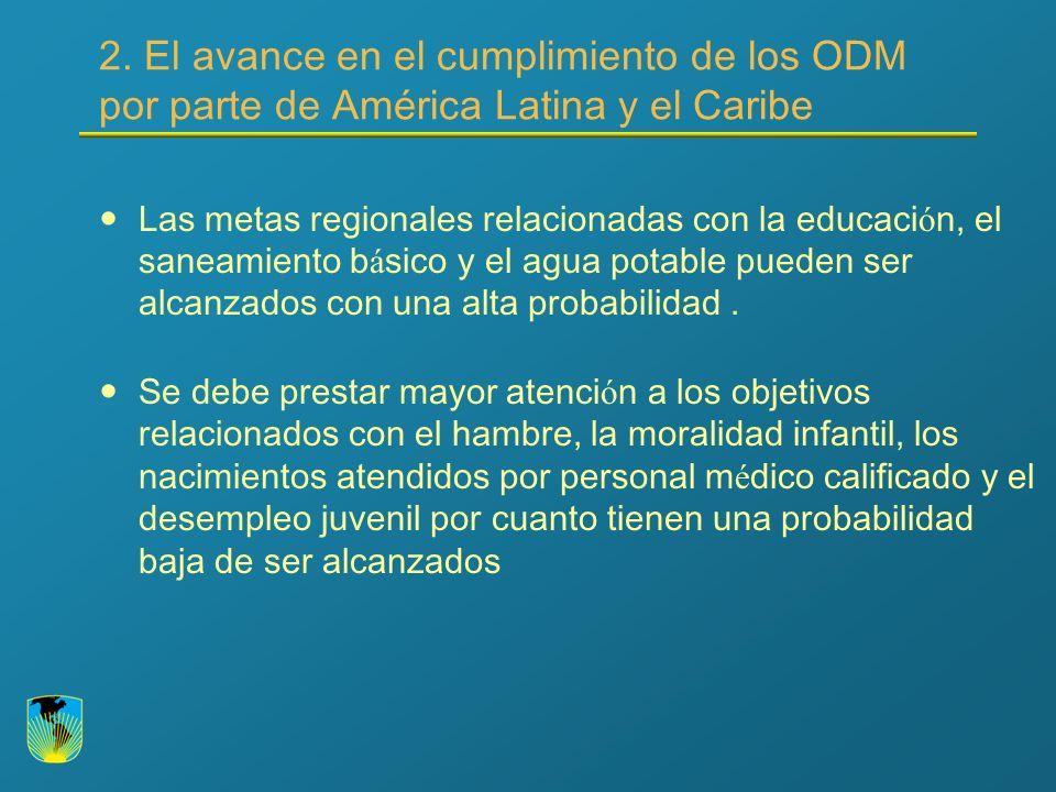 2. El avance en el cumplimiento de los ODM por parte de América Latina y el Caribe Las metas regionales relacionadas con la educaci ó n, el saneamient