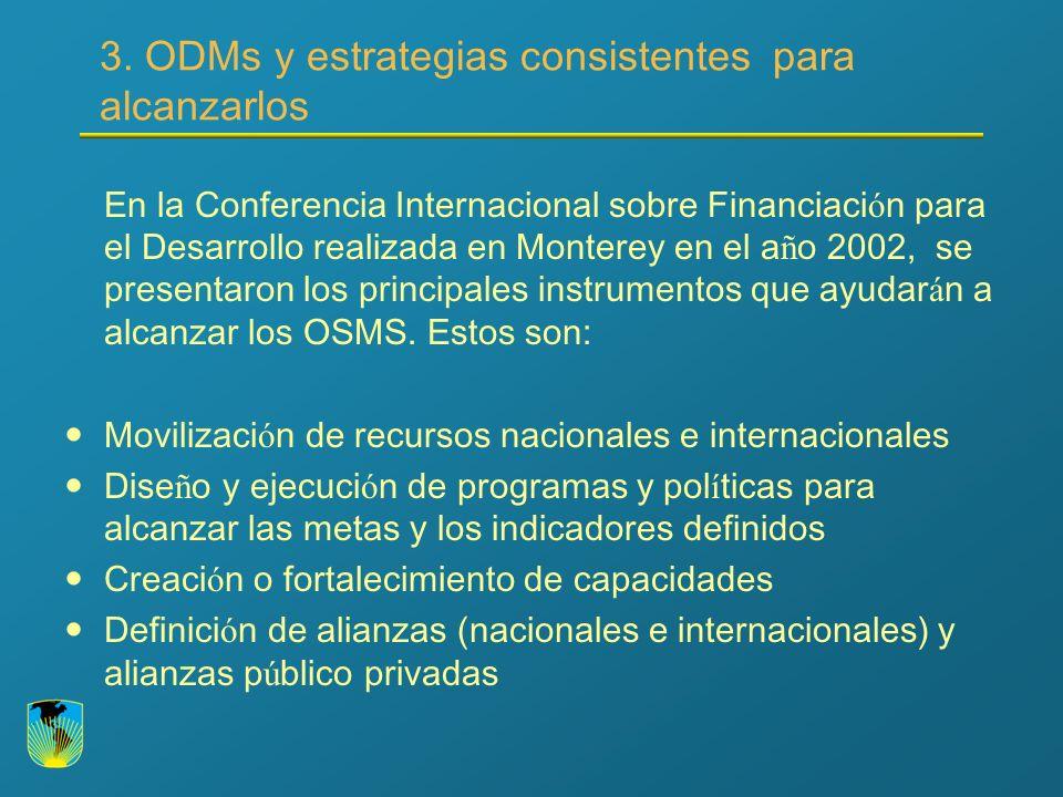 3. ODMs y estrategias consistentes para alcanzarlos En la Conferencia Internacional sobre Financiaci ó n para el Desarrollo realizada en Monterey en e