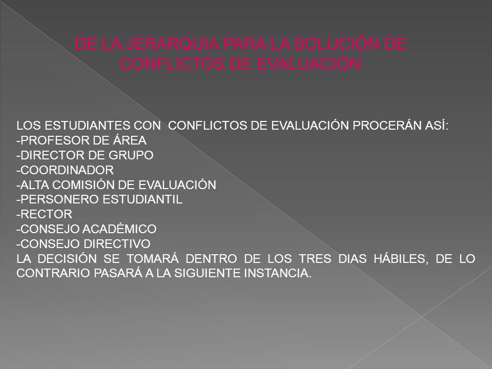 DE LA JERARQUIA PARA LA SOLUCIÓN DE CONFLICTOS DE EVALUACIÓN LOS ESTUDIANTES CON CONFLICTOS DE EVALUACIÓN PROCERÁN ASÍ: -PROFESOR DE ÁREA -DIRECTOR DE GRUPO -COORDINADOR -ALTA COMISIÓN DE EVALUACIÓN -PERSONERO ESTUDIANTIL -RECTOR -CONSEJO ACADÉMICO -CONSEJO DIRECTIVO LA DECISIÓN SE TOMARÁ DENTRO DE LOS TRES DIAS HÁBILES, DE LO CONTRARIO PASARÁ A LA SIGUIENTE INSTANCIA.