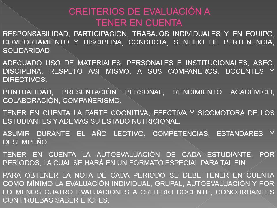 CRITERIOS PARA PROMOVER Y REPROBAR SE TENDRÁ EN CUENTA LA ASISTENCIA DEL ESTUDIANTE EN EL AÑO LECTIVO CORRESPONDIENTE CON PORCENTAJE DE FALLAS INJUSTIFICADAS O SIN EXCUSA MÉDICA DEL 25 POR CIENTO PARA SU REPROBACIÓN.