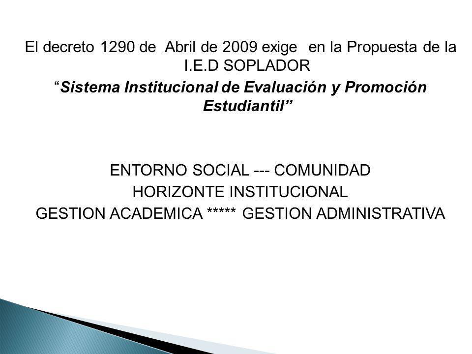 El decreto 1290 de Abril de 2009 exige en la Propuesta de la I.E.D SOPLADOR Sistema Institucional de Evaluación y Promoción Estudiantil ENTORNO SOCIAL