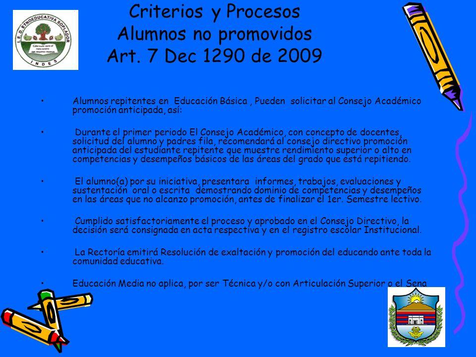 Criterios y Procesos Alumnos no promovidos Art.