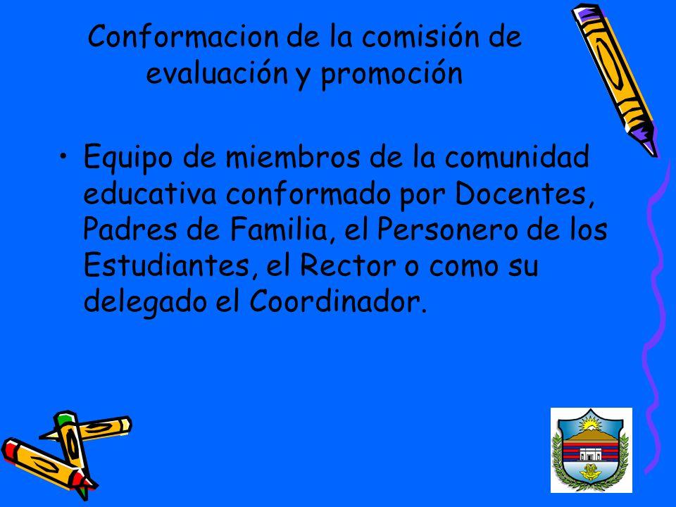 Conformacion de la comisión de evaluación y promoción Equipo de miembros de la comunidad educativa conformado por Docentes, Padres de Familia, el Personero de los Estudiantes, el Rector o como su delegado el Coordinador.