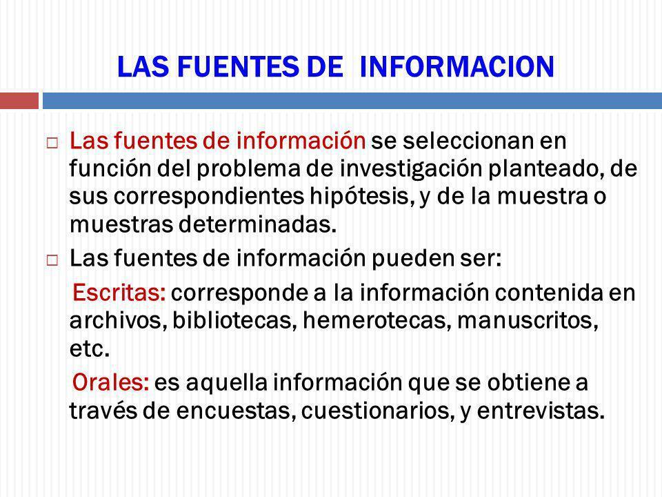 LAS FUENTES DE INFORMACION Las fuentes de información se seleccionan en función del problema de investigación planteado, de sus correspondientes hipót
