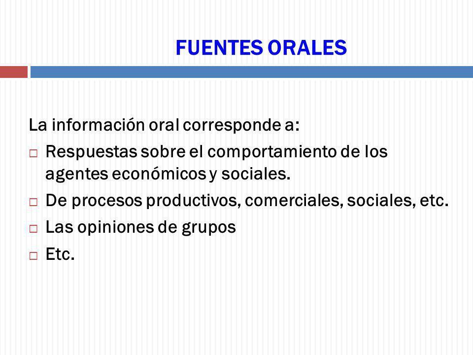 FUENTES ORALES La información oral corresponde a: Respuestas sobre el comportamiento de los agentes económicos y sociales. De procesos productivos, co