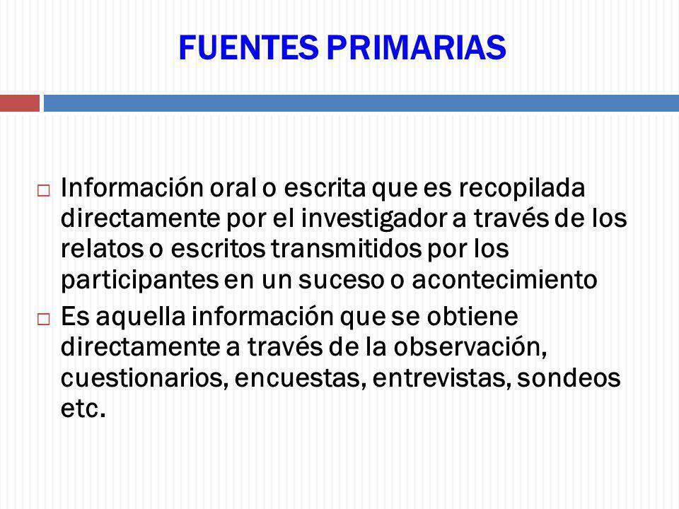 FUENTES PRIMARIAS Información oral o escrita que es recopilada directamente por el investigador a través de los relatos o escritos transmitidos por lo
